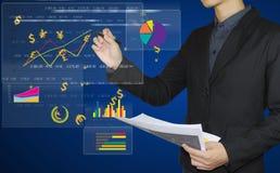 Diagramme, Diagramme und Karten auf whiteboard Lizenzfreie Stockfotografie