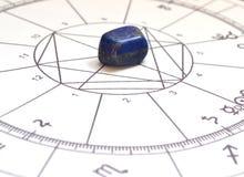 Diagramme en pierre naturel de Crystal Natal de lapis lazuli de diagramme d'astrologie photo stock