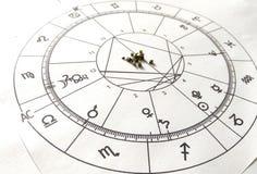 Diagramme en pierre naturel de Crystal Natal de quartz de diagramme d'astrologie photo stock