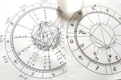 Diagramme en pierre naturel de Crystal Natal de quartz de diagramme d'astrologie image libre de droits