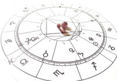 Diagramme en pierre naturel de Crystal Natal de quartz de diagramme d'astrologie photographie stock