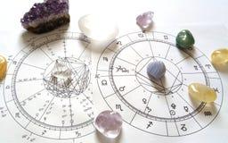 Diagramme en pierre naturel de Crystal Natal de quartz de diagramme d'astrologie photos stock