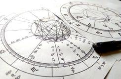 Diagramme en pierre naturel de Crystal Natal de quartz de diagramme d'astrologie photo libre de droits