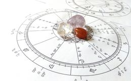 Diagramme en pierre naturel de Crystal Natal de quartz de diagramme d'astrologie images libres de droits