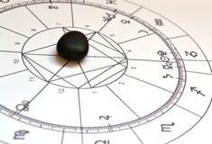 Diagramme en pierre naturel de Shungite Crystal Natal de diagramme d'astrologie images stock
