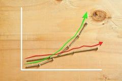 Diagramme entwerfen das Zeigen des Vergleiches Stockfotografie