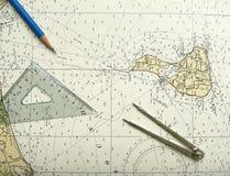 Diagramme et diviseur nautiques Photos stock