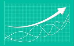 Diagramme financier abstrait avec graphe linéaire et nombres tendance à la hausse sur le marché boursier illustration stock