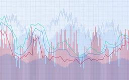 Diagramme financier avec graphe linéaire, histogramme et numéros d'article sur le marché boursier sur le fond bleu de couleur illustration de vecteur