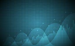 Diagramme financier avec graphe linéaire tendance à la hausse, histogramme et numéros d'article sur le fond bleu de couleur de gr illustration stock