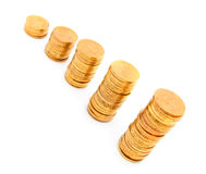The diagramme from gold coins. Stock Photography