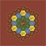 Diagramme hexagonal de l'OM et du svastika Photo libre de droits