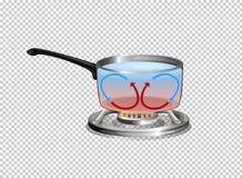 Diagramme montrant le cycle de chaleur quand eau bouillante Photo libre de droits