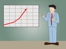 Diagramme progressif de flèche de présentation debout d'homme d'affaires Photo stock
