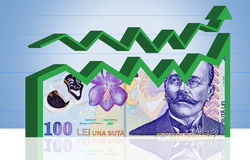 Diagramme roumain de finances d'argent. Avec le chemin de découpage. Images stock