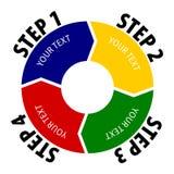 Diagramme simple de 4 étapes Le cercle s'est divisé en quatre parts, chacune avec la forme de flèche Photographie stock