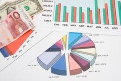 Diagramme und Euro Lizenzfreies Stockbild