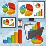 Diagramme und Geräte eingestellt Stockfoto