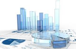 Diagramme und Grafiken des Geschäfts 3D stockbild