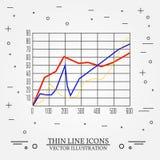 Diagramme verdünnen Linie Design Diagrammstift Ikone Lizenzfreies Stockfoto