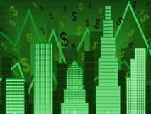 Diagramme vert de finances de wallstreet illustration stock