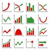 Diagrammen en Geplaatste Grafiekenpictogrammen Vector Stock Foto