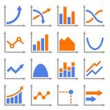 Diagrammen en Geplaatste Grafiekenpictogrammen Vector Stock Foto's