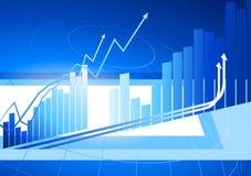 Diagrammes à barres bleus avec des flèches augmentant le fond Photo stock