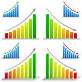 Diagrammes à barres d'affaires réglés illustration de vecteur