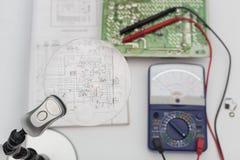 Diagrammes électriques, diagrammes électroniques Images stock