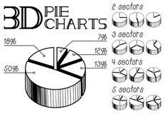 diagrammes circulaires 3D Images libres de droits