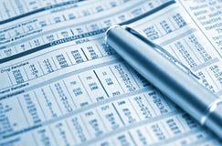 Diagrammes courants et un crayon lecteur argenté Image stock
