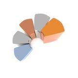 Diagrammes en secteurs métalliques de cercle, rendu 3d illustration de vecteur