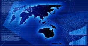 Diagrammes et données sur la carte du monde Photographie stock libre de droits
