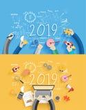 2019 diagrammes et graphiques créatifs de dessin de réussite commerciale de nouvelle année Image libre de droits