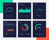 Diagrammes financiers et lançants sur le marché de données Écran de données de gestion du réseau avec des diagrammes et des diagr illustration de vecteur