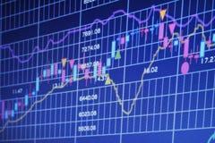 Diagrammes financiers sur le grand tableau indicateur photographie stock