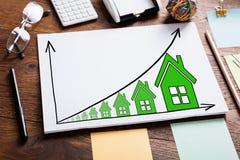 Diagrammet av tillväxt i fastighet prissätter Arkivbild