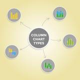 Diagrammet för kolonnen för meningsöversikten skriver - uppsättningen av den Infographic beståndsdelsamlingen Royaltyfria Bilder