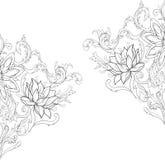 Diagrammet skissar av lotusblommor i prydnad på en vit bakgrund Fotografering för Bildbyråer
