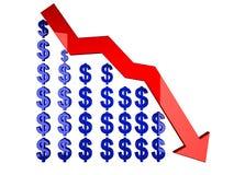 Diagrammfallen des Dollars 3d getrennt auf Weiß Lizenzfreies Stockfoto