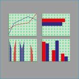 Diagrammi dei diagrammi a torta della barra del punto degli elementi del mercato di dati di gestione Fotografia Stock