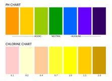 Diagrammi del cloro e di pH Fotografia Stock