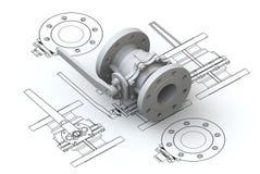 Diagrammi della valvola con il modello 3d Fotografia Stock Libera da Diritti