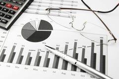 Diagrammi di affari in bianco e nero Immagini Stock
