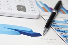 Diagrammi e grafici delle vendite Fotografie Stock
