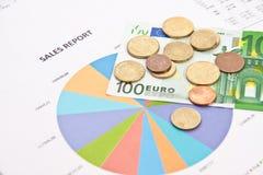Diagrammi e soldi di vendite Fotografia Stock Libera da Diritti