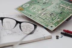 Diagrammi elettrici, diagrammi elettronici Fotografia Stock
