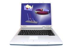 Diagrammi multipli sullo schermo del computer portatile Immagine Stock