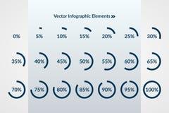 diagrammi a torta di 0 5 10 15 20 25 30 35 40 45 50 55 60 65 70 75 80 85 90 95 100 per cento Elementi infographic di download del Immagine Stock Libera da Diritti